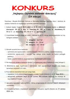 Najlepszy czytelnik biblioteki dziecięcej 9 edycja - konkurs - plakat