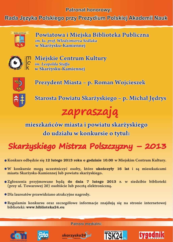 """Konkurs """"Skarżyski Mistrz Polszczyzny"""" - 2013"""