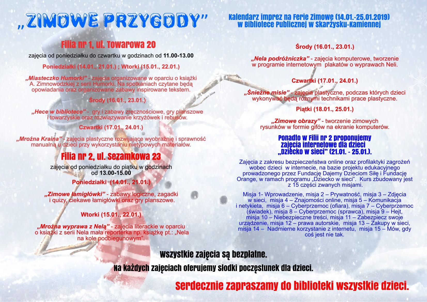 Plakat ferii zimowych