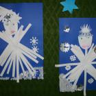"""""""ZIMOWE PEJZAŻE"""" Wystawa prac dzieci uczestniczących w zajęciach plastycznych podczas ferii zimowych zorganizowanych w bibliotece, uzupełniona poetyckim akcentem wierszy o tematyce zimowej."""