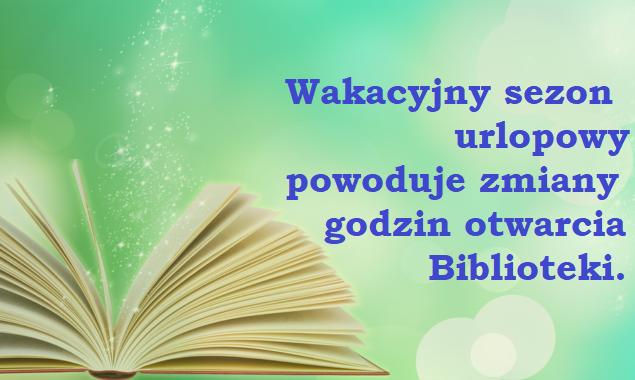 Uwaga Czytelnicy! od 31 lipca do 21 sierpnia 2020 r. Filia nr 2 naszej Biblioteki przy ul. Sezamkowej 23 będzie czynna w godzinach 10.00 – 18.00